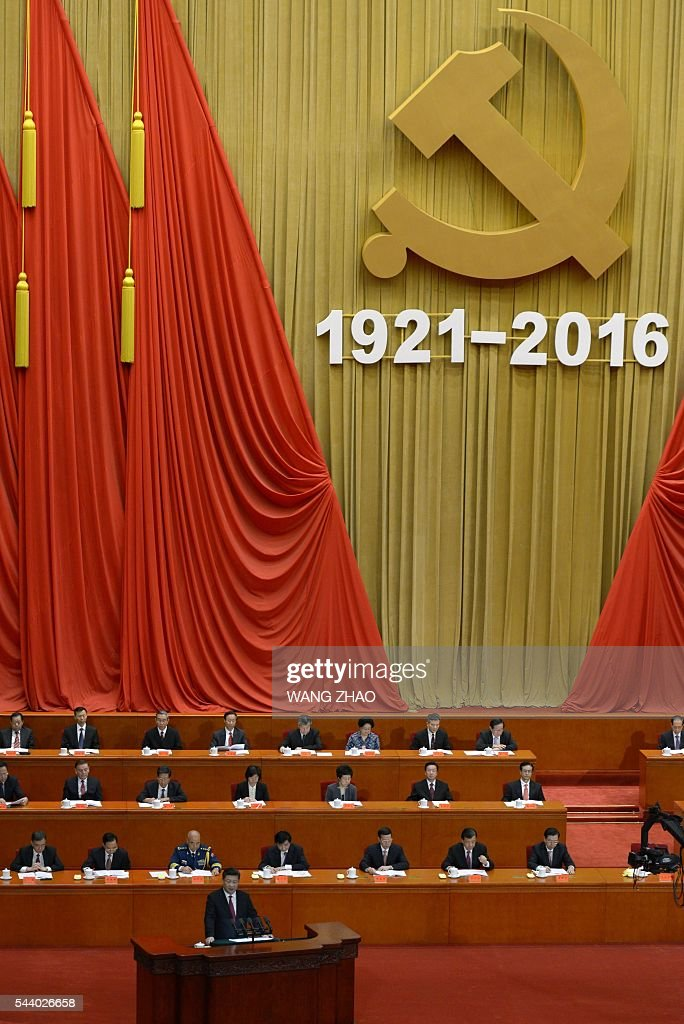 Chinese President Xi Jinping delivers a speech during the Celebration Ceremony of the 95th Anniversary of the Founding of the Communist Party of China at the Great Hall of the People in Beijing on July 1, 2016. China's Communist Party take the ruling organisation's membership to almost 88 million and the anniversary of the Party's founding falls on July 1. / AFP / WANG