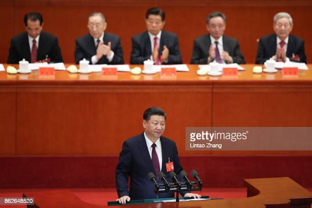 BEIJING CHINA OCTOBER Chinese President Xi Jinping delivers a speech during the opening session of the 19th Communist Party Congress held at the...