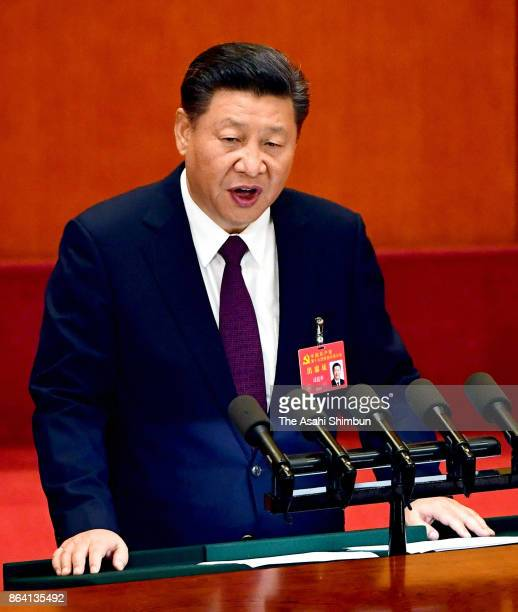 Chinese President Xi Jinping delivers a speech during the opening session of the 19th Communist Party Congress held at the Great Hall of the People...