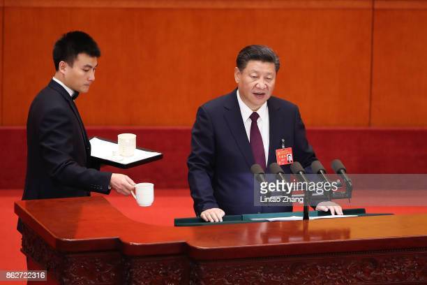 Chinese President Xi Jinping during the opening session of the 19th National Congress Of The Communist Party Of China at The Great Hall Of The People...