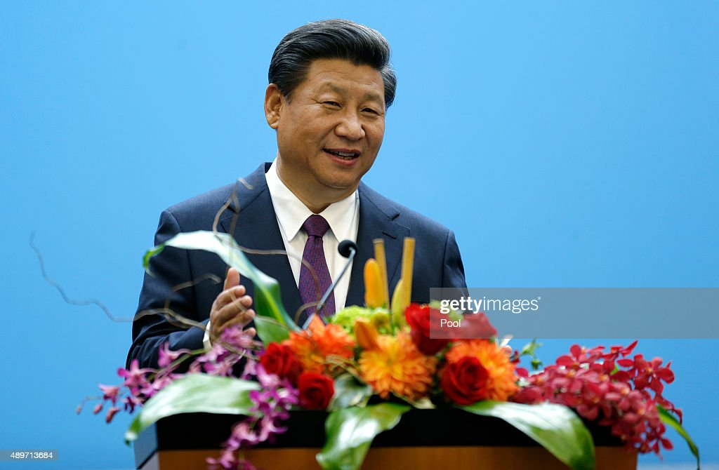 Chinese President Xi Jinping gives a speech at Microsoft's main campus September 23 2015 in Redmond Washington Xi and top executives from US and...