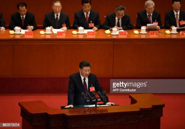 Chinese President Xi Jinping gives a speech at the opening session of the Chinese Communist Party's fiveyearly Congress at the Great Hall of the...