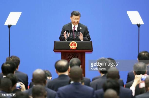 Chinese President Xi Jinping holds a press conference after a summit at the Belt and Road Forum for International Cooperation in Beijing on May 15...