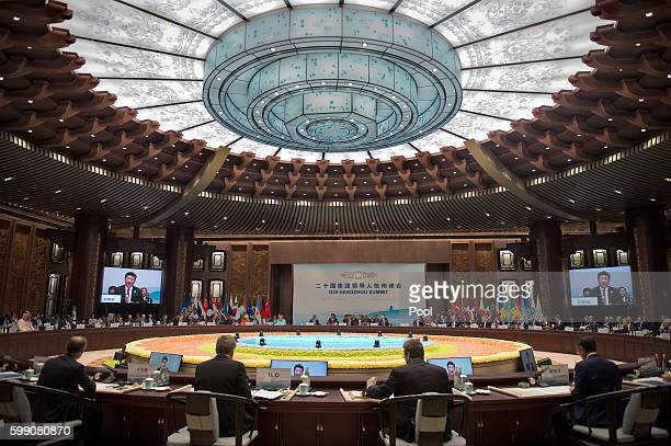 Chinese President Xi Jinping makes a speech during the opening ceremony of the G20 Leaders Summit on September 4 2016 in Hangzhou China World leaders...