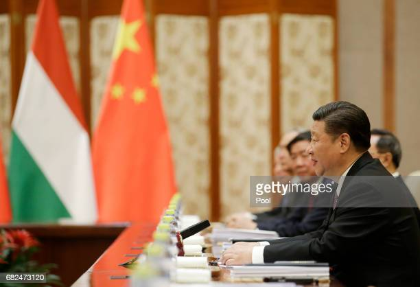 Chinese President Xi Jinping meets Hungarian Prime Minister Viktor Orban ahead of the Belt and Road Forum in Beijing China May 13 2017