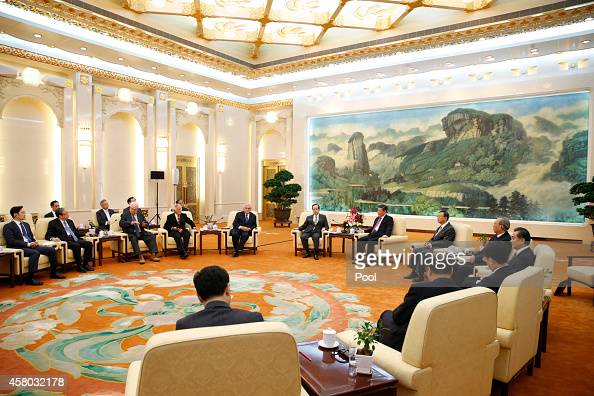 Chinese President Xi Jinping meets members of Board of Directors of the Boao Asia Forum at the Great Hall of the People on October 29 2014 in Beijing...