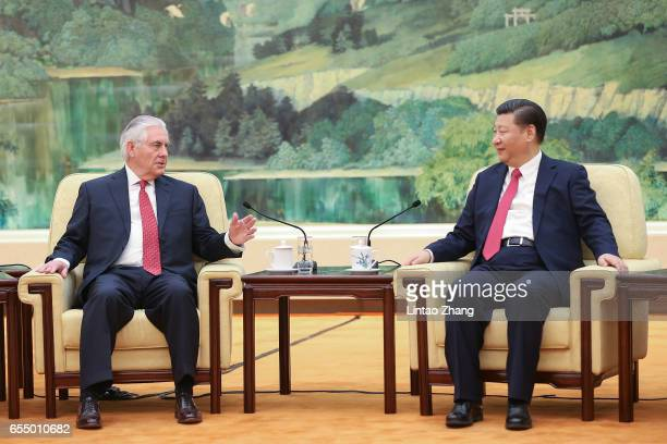Chinese President Xi Jinping meets with US Secretary of State Rex Tillerson at the Great Hall of the People on March 19 2017 in Beijing China...