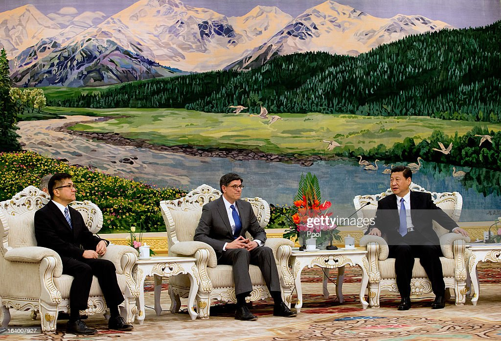 Chinese President Xi Jinping (R) meets with U.S. Secretary of Treasury Jacob Lew (C) during his visit to the Great Hall of the People on March 19, 2013 in Beijing, China. Chinese leader Xi Jinping spoke of wanting strong ties with the U.S. after holding talks with the US Treasury secretary Jacob Lew today in his first meeting with a foreign official since being appointed as president.