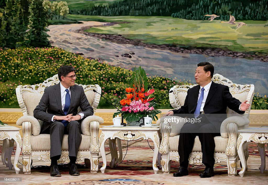 Chinese President <a gi-track='captionPersonalityLinkClicked' href=/galleries/search?phrase=Xi+Jinping&family=editorial&specificpeople=2598986 ng-click='$event.stopPropagation()'>Xi Jinping</a> (R) meets with U.S. Secretary of Treasury Jacob Lew during his visit to the Great Hall of the People on March 19, 2013 in Beijing, China. Chinese leader <a gi-track='captionPersonalityLinkClicked' href=/galleries/search?phrase=Xi+Jinping&family=editorial&specificpeople=2598986 ng-click='$event.stopPropagation()'>Xi Jinping</a> spoke of wanting strong ties with the U.S. after holding talks with the US Treasury secretary Jacob Lew today in his first meeting with a foreign official since being appointed as president.