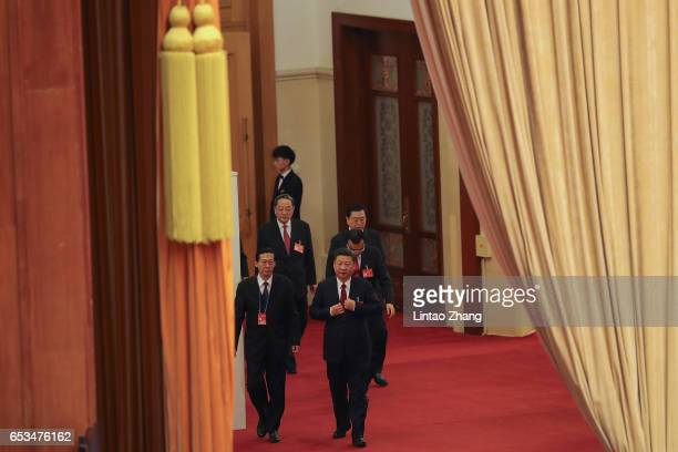 Chinese President Xi Jinping Premier Li Keqiang Chairman of the Standing Committee of the National People's Congress Zhang Dejiang and Chairman of...