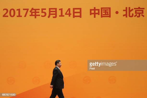Chinese President Xi Jinping prepares to deliver a speech during a welcome banquet for the Belt and Road Forum at the Great Hall of the People in...