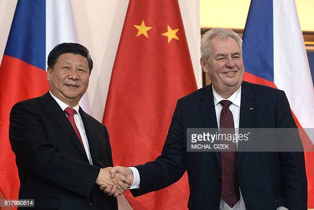 Chinese President Xi Jinping shakes hand with Czech President Milos Zeman on March 29 in Prague / AFP / Michal Cizek