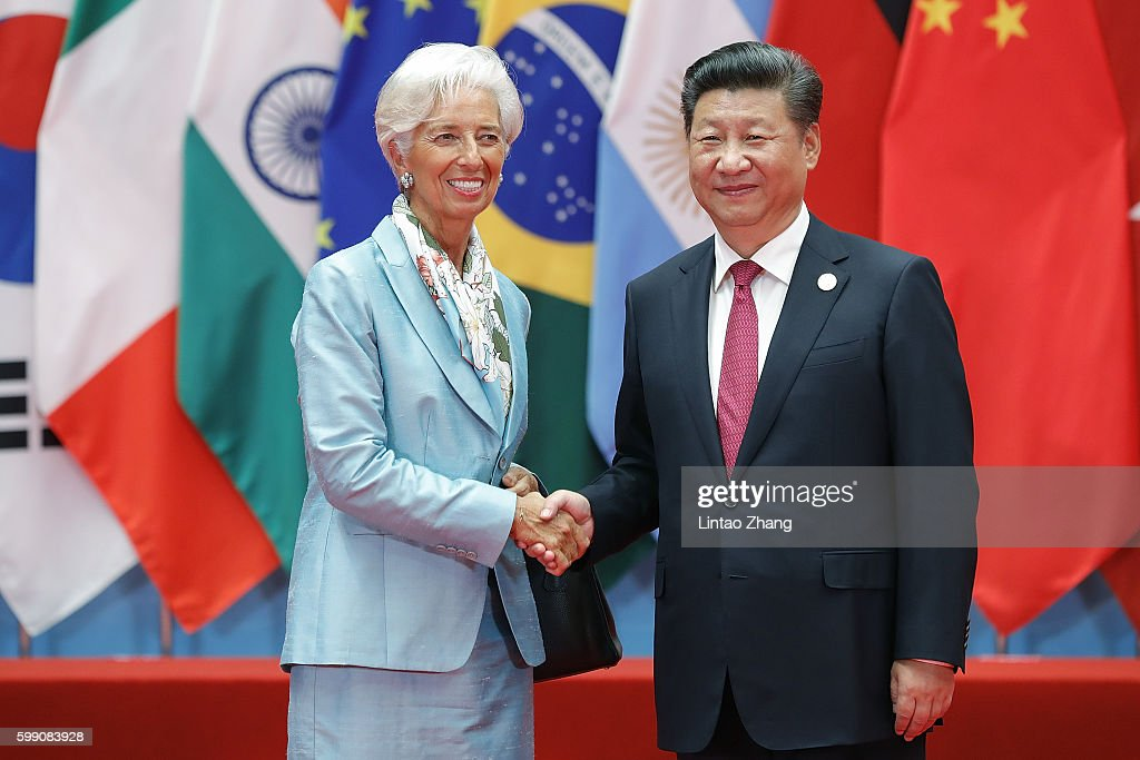 Chinese President Xi Jinping (right) shakes hands with Christine Lagarde, Managing Director of the International Monetary Fund (IMF) during the G20 Summit at the Hangzhou International Expo Center on September 4, 2016 in Hangzhou, China. World leaders are gathering in Hangzhou for the 11th G20 Leaders Summit from September 4 to 5.