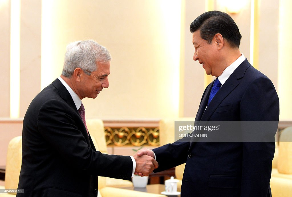 Chinese President Xi Jinping (R) shakes hands with Claude Bartolone, President of the French National Assembly, prior to a meeting at the Great Hall of the People in Beijing on January 23, 2014. Bartolone is in China as part of the celebrations marking the 50-year anniversary of France establishing full diplomatic ties with Communist China on January 27, when in 1964, France broke ranks with the US to open ties with the then-government of Mao Zedong -- a decision that paved the way for China to gain global recognition.