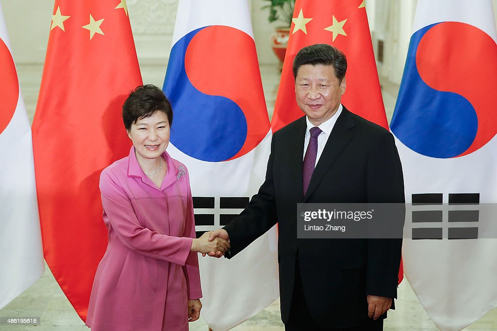 Chinese President Xi Jinping shankes hands with South Korean President Park Geunhye at The Great Hall Of The People on September 2 2015 in Beijing...