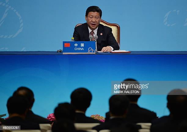 Chinese President Xi Jinping speaks at the closing press conference of the fourth Conference on Interaction and Confidence Building Measures in Asia...