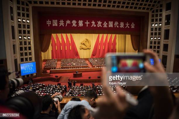 Chinese President Xi Jinping speaks at the opening session of the 19th Communist Party Congress held at The Great Hall Of The People on October 18...