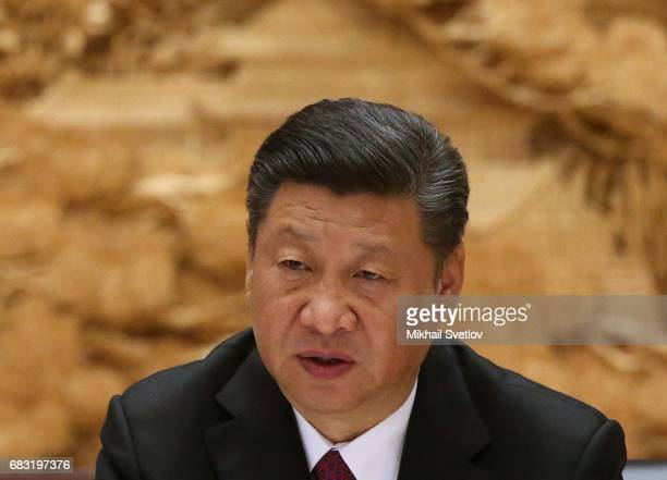 Chinese President XI Jinping speaks at the roundtable plenary meeting during the Belt and Road Forum for International Cooperation at the...