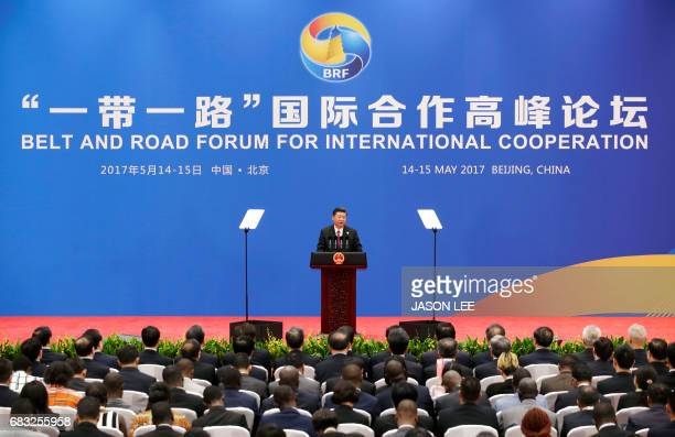 Chinese President Xi Jinping speaks during a news conference at the Belt and Road Forum at the International Conference Center in Yanqi Lake north of...