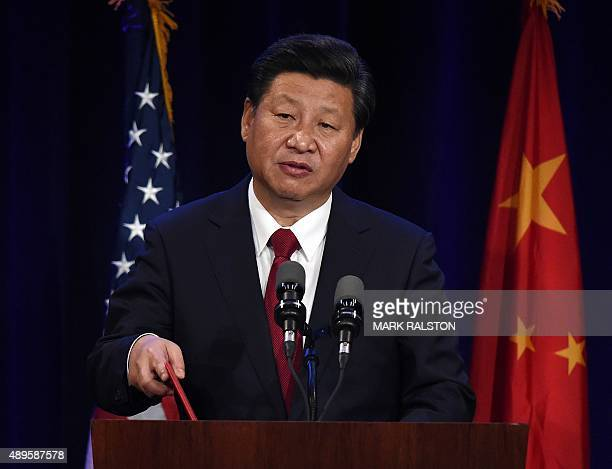 Chinese President Xi Jinping speaks during his welcoming banquet at the start of his visit to the United States at the Westin Hotel in Seattle...