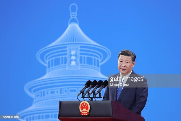 Chinese President Xi Jinping speaks during the 86th INTERPOL General Assembly at Beijing National Convention Center on September 26 2017 in Beijing...