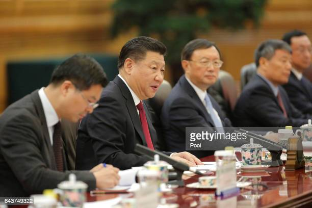 Chinese President Xi Jinping speaks during the meeting with Italian President Sergio Mattarella at the Great Hall of the People in Beijing China 22...