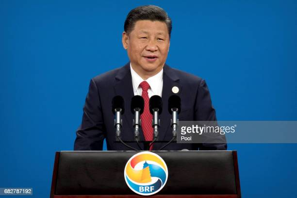Chinese President Xi Jinping speaks during the opening ceremony of the Belt and Road Forum at the China National Convention Center in Beijing Sunday...