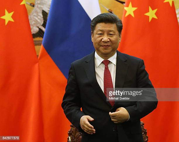Chinese President Xi Jinping speeches during his meeting with Russian President Vladimir Putin in June 25 2016 in Beijing China Vladimir Putin is...
