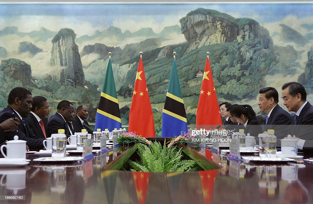 Chinese President Xi Jinping (2nd-R) talks with Zanzibar's President Ali Mohamed Shein (2nd-L) during a meeting at the Great Hall of the People in Beijing on May 28, 2013.