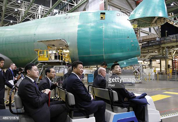 Chinese President Xi Jinping tours the Boeing assembly line on September 23 in Seattle Washington The Paulson Institute in partnership with the China...
