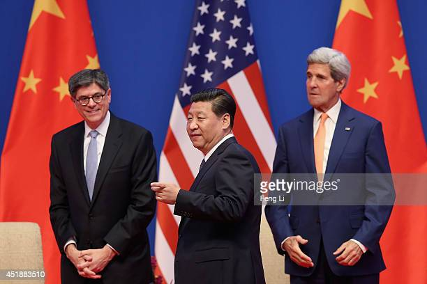 Chinese President Xi Jinping US Secretary of State John Kerry and US Treasury Secretary Jack Lew attend the opening ceremony of the 6th ChinaUS...