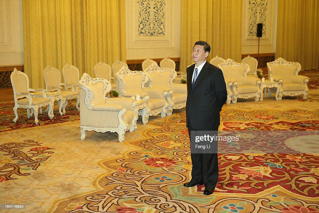 Chinese President Xi Jinping waits for meeting U.S. Secretary of Treasury Jacob Lew during his visit to the Great Hall of the People on March 19, 2013 in Beijing, China.