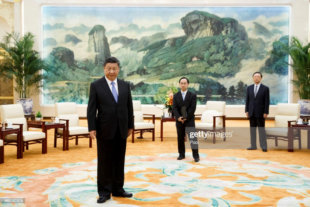 Chinese President Xi Jinping waits the arrival of Prince Andrew, Duke of York  at the Great Hall of the People on May 29, 2018  in Beijing, China. (Photo by Thomas Peter-Pool/Getty Images)