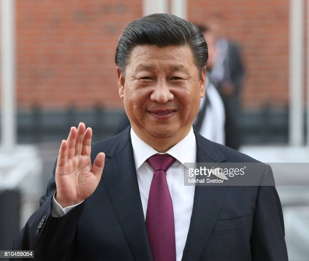 Chinese President Xi Jinping waves arriving to the Elbphilharmone for the dinner during the G20 Summit on July2017 in Hamburg Germany