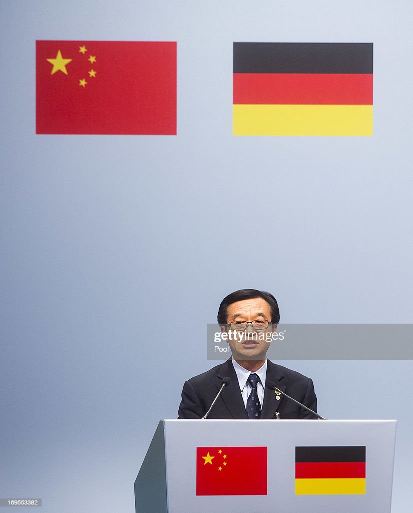 Chinese Prime Minister Li Keqiang attends a lunchtime reception for German and Chinese business representatives on May 27, 2013 in Berlin Germany. On his first official visit to Germany as prime minister Mr. Li is scheduled to meet with German government officials and business representatives.