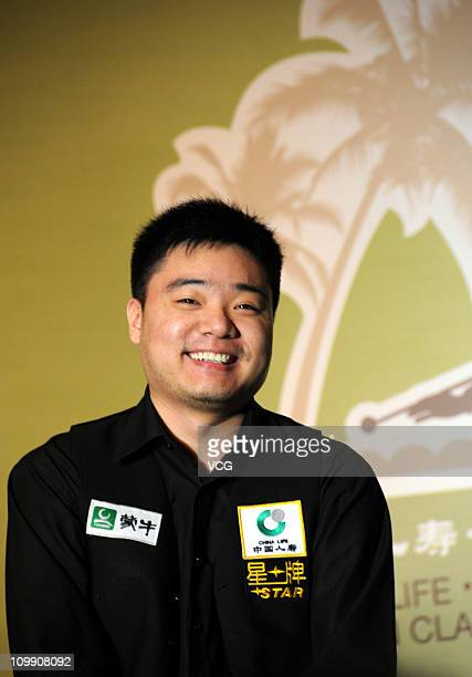 Chinese professional snooker player Ding Junhui attends a press conference before the Chinalife Xingpai Hainan Classic at BFA International...