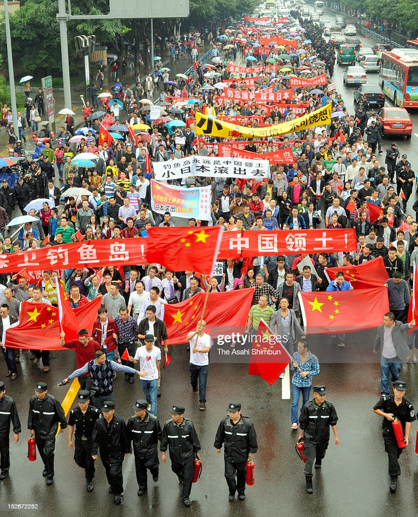 Chinese protestors stage an anti Japan rally shouting 'Do Not Buy Japanese Products' on September 16, 2012 in Chengdu, China. There were protests in many major cities in China, including Shanghai, Shenzhen, Shenyang, Hangzhou, Harbin, Qingdao and Hong Kong as they oppose to the Japanese government's purchase of the disputed Senkaku/Diaoyu islands.