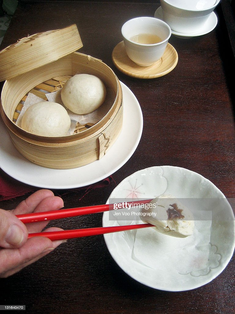 Chinese red bean steamed buns : Stock Photo