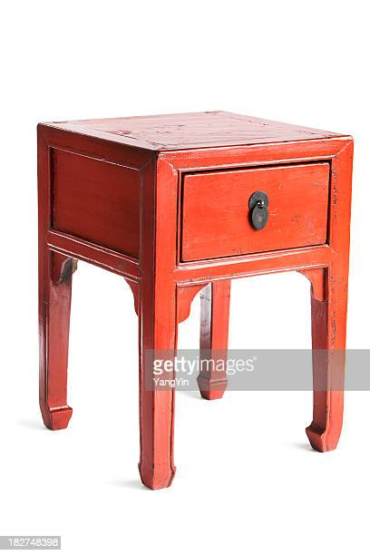 Chinese Red Lacquer Antique Wooden Furniture Side Table with Drawer