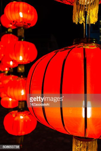 Chinese red lamp group : Stock Photo