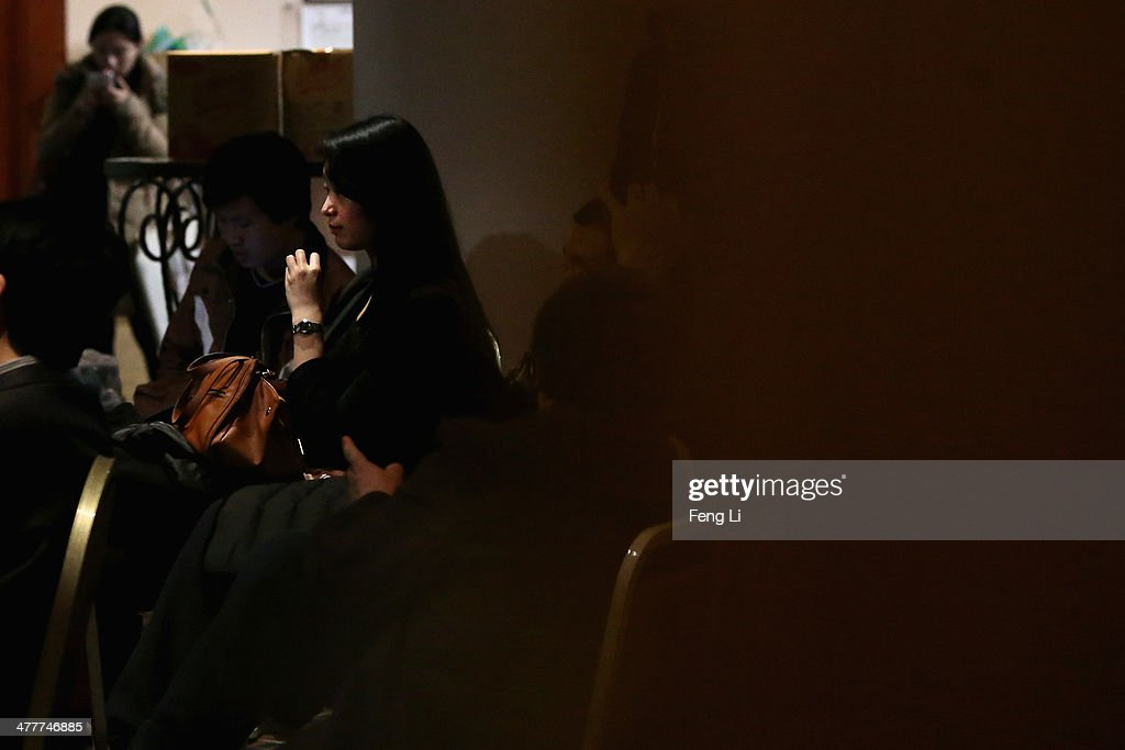 Chinese relatives of the passengers onboard Malaysia Airlines flight MH370 gather inside the relative area at Lido Hotel on March 11, 2014 in Beijing, China. Officials have expanded the searh area for missing Malaysia Airlines flight MH370 to include more of the Gulf of Thailand between Malayisa and Vietnam and land along the Malay Pensinusula. The flight carrying 239 passengers from Kuala Lumpur to Thailand was reported missing on the morning of March 8 after the crew failed to check in as scheduled. Relatives of the missing passengers have been advised to prepare for the worst as authorities focus on two passengers on board travelling with stolen passports.