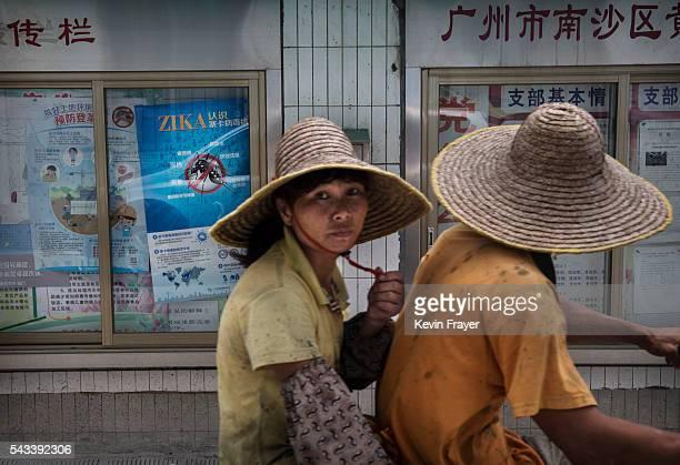 Chinese residents drive past an information poster on the Zika virus on Shazai Island where the Sun YatSen UniversityMichigan University Joint Center...