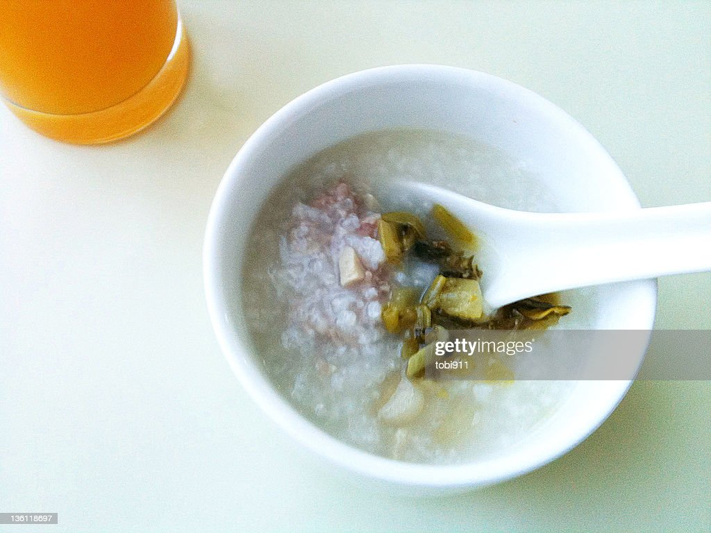 Chinese rice porridge in morning : Stock Photo