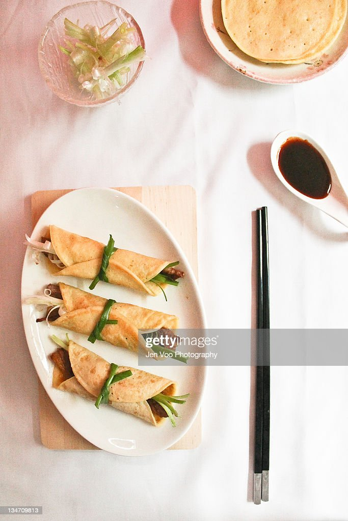 Chinese roast duck with pancakes : Stock Photo