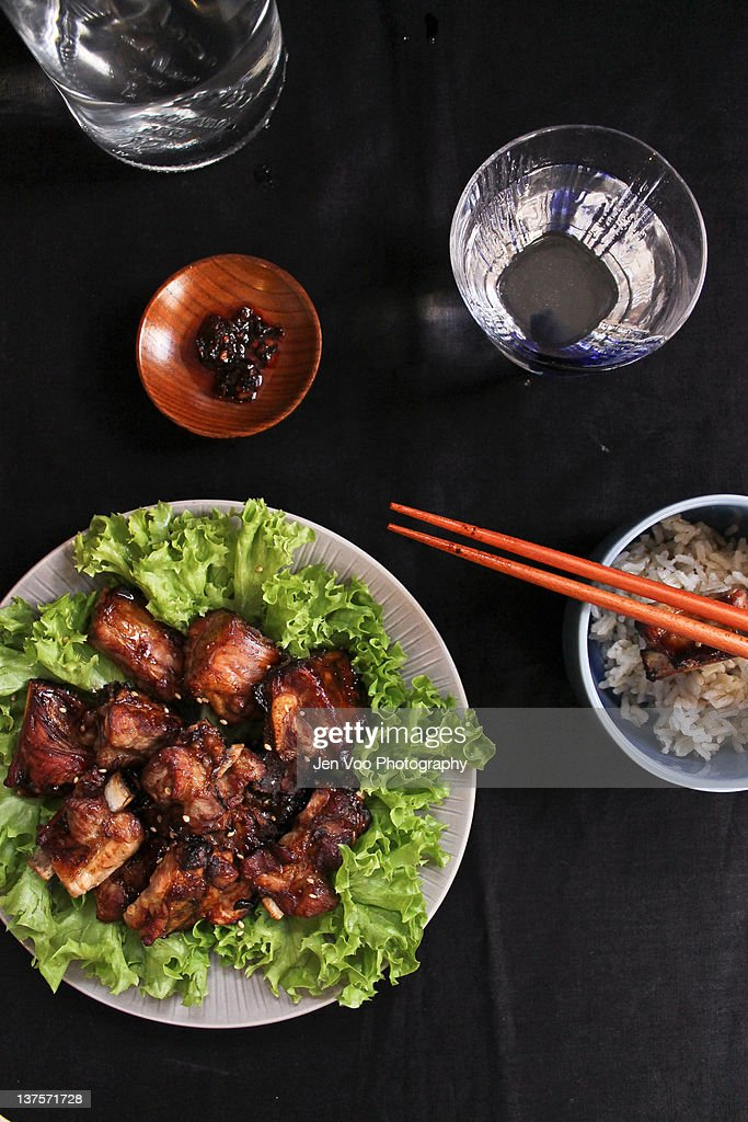 Chinese Roasted Soy Spare Ribs : Stock Photo