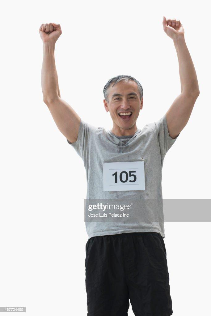 Chinese runner cheering