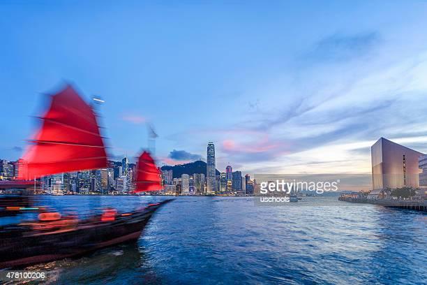 Chinese Sailing Junk and Victoria Harbour, Hongkong