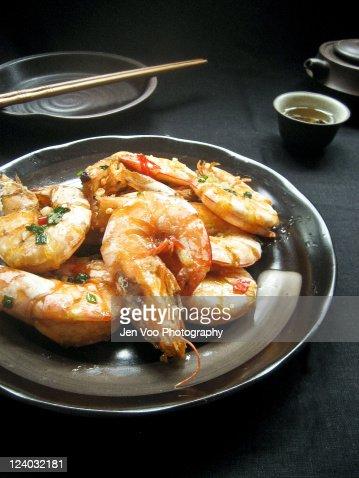 Chinese salt pepper prawns : Stock Photo