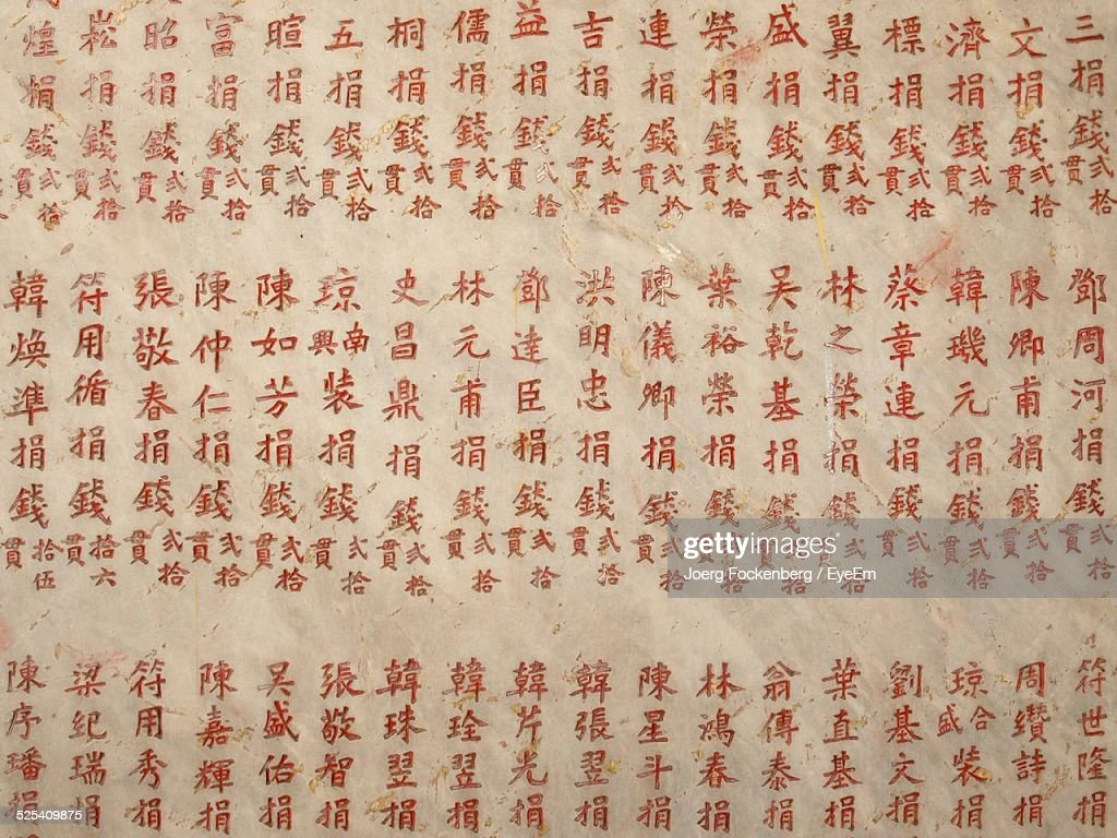Chinese Script On Wall