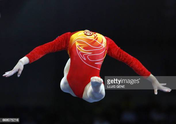 Chinese Sha Xiao perfoms on the floor during qualifications of the 40th World Artistic Gymnastics Championships 01 September 2007 at the...